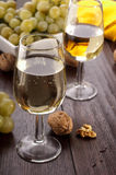 White wine. With grapes and walnuts Royalty Free Stock Photo
