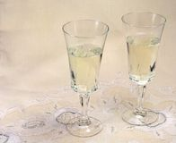 White wine. Two glasses of white wine royalty free stock photos