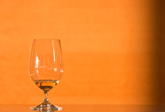 White wine. Glass of white wine on a modern countertop lit by evening light Stock Photography