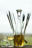 White wine. A bottle of white wine served Royalty Free Stock Photo
