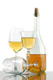 White wine. Bottles of excellent wine on a white background Royalty Free Stock Photo