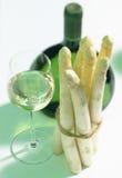 White wine with asparagus Stock Photos