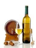 White wine and barrel Stock Image