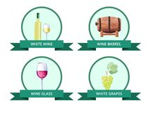White Wine and Barrel, Glass Vector Illustration. White wine and barrel, glass and grapes poster with set of icons of cask and alcoholic drinks, text written in vector illustration