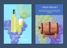 White Wine and Barrel Posters Vector Illustration. White wine and barrel, set of posters that contain images of bottle, ripe grapes, glass and wooden cask, with stock illustration