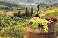 White wine with barrel on vineyard in Chianti, Tuscany, Italy. White wine with barrel on famous vineyard in Chianti, Tuscany, Italy Stock Images