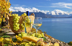 White wine and basket of grapes Stock Photo