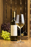 White Wine Bootle and Glass Royalty Free Stock Photos