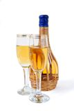 White wine bottle. And glasses Stock Images