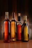 White Wine Bottle Backlit Stock Images