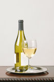 White Wine Bottle Blank Label and Glass Stock Photos