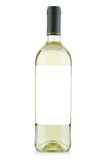 White wine bottle with blank label on white Royalty Free Stock Images
