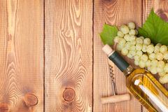 White wine bottle and bunch of white grapes Royalty Free Stock Photos
