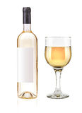 White wine bottle and glass stock photography