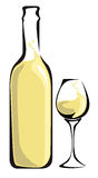 White wine. Bottle with glass Stock Photo