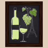 White wine bottle and glass on background eifel tower Stock Image