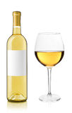 White wine bottle and glass Stock Image