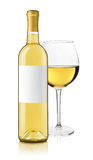 White wine bottle and glass Stock Images