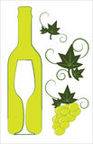 White wine bottle and glass. With floral deco elements Royalty Free Stock Images