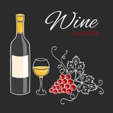 White wine bottle, glass and grapes vector illustration. Royalty Free Stock Photos