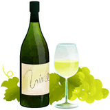 White wine. Bottle and  glass wine by watercolor paint touch Royalty Free Stock Photo