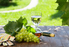 White wine bottle and glass with white grape Royalty Free Stock Photo