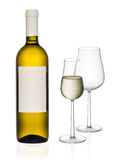 White wine bottle and glasses Stock Photos