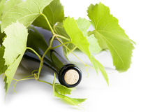 White wine, bottle of grape leaves. Stock Image