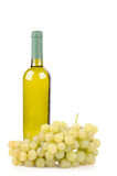 White wine bottle and grapes. Isolated on white background Royalty Free Stock Images