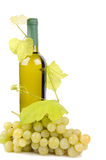 White wine bottle and grapes. Isolated on white background Royalty Free Stock Photos