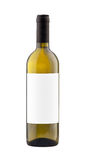 White wine bottle isolated with blank label. Royalty Free Stock Photography