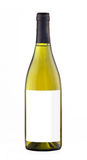 White wine bottle isolated with blank label. Stock Photo