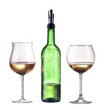 White wine in bottle and two glass. Isolated on white background, dispenser on the bottle Stock Photography