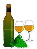 White Wine Bottle Two Glasses and Bunch of Grapes Royalty Free Stock Photography