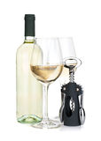 White wine bottle, two glasses and corkscrew Royalty Free Stock Image