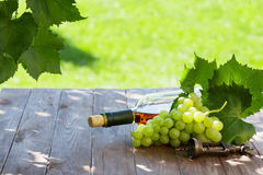 White wine bottle and white grape. On garden table Royalty Free Stock Image