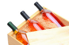 White Wine Bottles In Wooden Crate Stock Photos