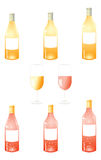 White Wine Bottles Pack Stock Photos