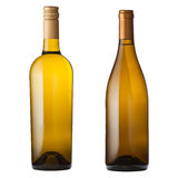 White wine bottles on white. Two different white wine bottles isolated on white with clipping path royalty free stock images