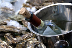 White wine bottlle and oysters Royalty Free Stock Photo