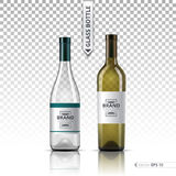 White wine and brandy or liquor bottles isolated on transparent background. Vector 3d detailed mock up set illustration Stock Photography