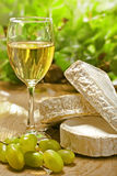 White wine, Brie, Camembert and grape Royalty Free Stock Photo