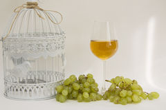 White wine and cage Royalty Free Stock Image