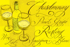 White wine with calligraphy Royalty Free Stock Image