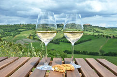 White wine and cantuccini Royalty Free Stock Photography