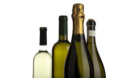 White wine, champagne and prosecco bottles Royalty Free Stock Photo