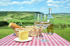 White wine, cheese and bread Royalty Free Stock Image