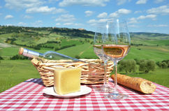 White wine, cheese and bread Stock Photography
