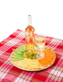 White wine and cheese composition. Stock Photo