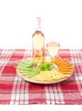 White wine and cheese Stock Images